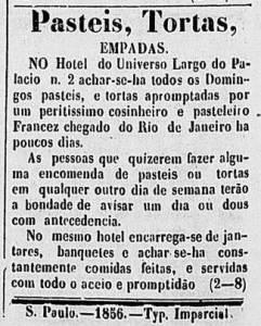 Correio, 14 de abril de 1856: empadinhas no hotel