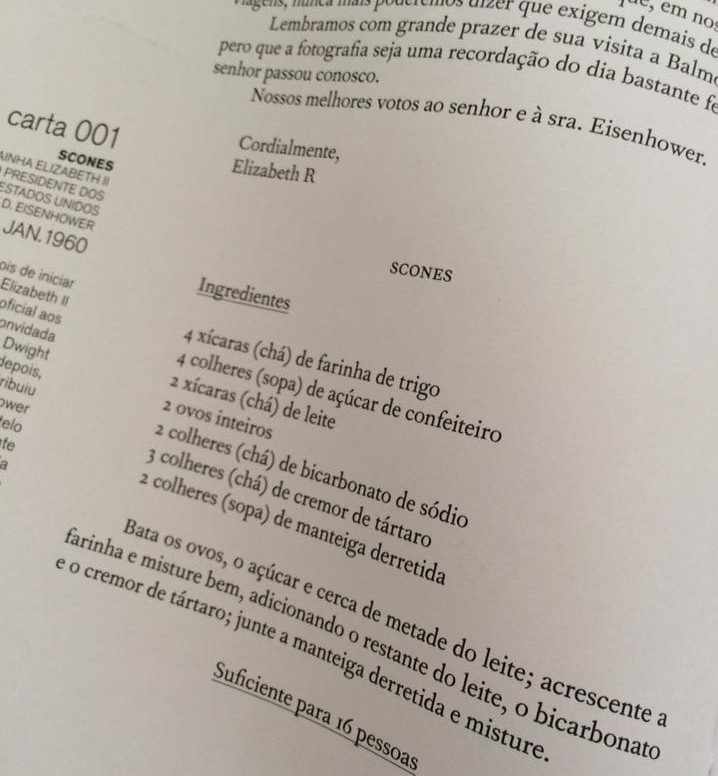 Receita dos scones de Elizabeth Ii (reprodução de Cartas Extraordinárias)