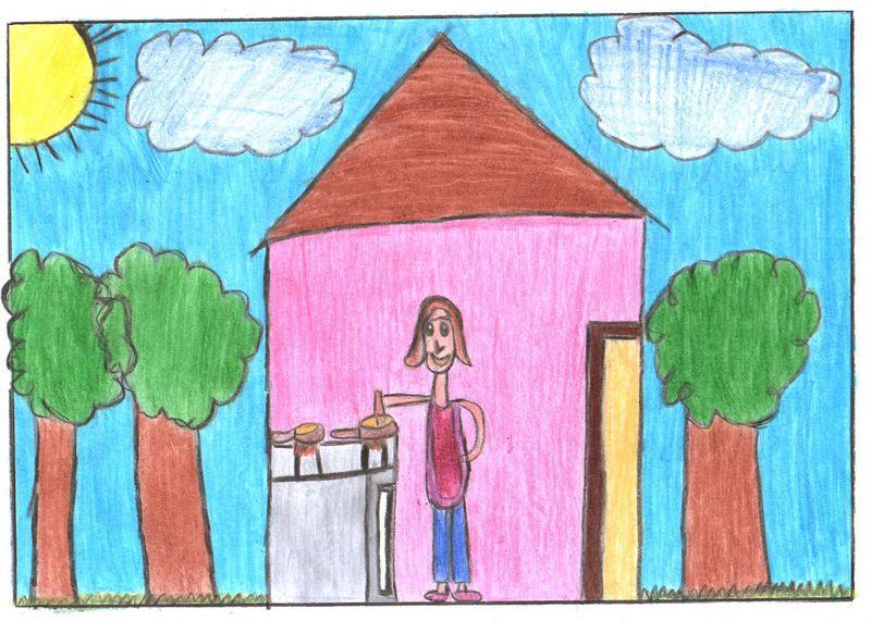 Dona Rosinha cozinhando quando menina: o desenho está na primeira coleção do Lembraria para o Museu da Pessoa