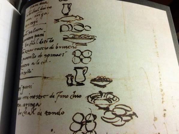 Na lista de alimentos escrita no verso de uma carta que tem a data de 18 de março de 1518, atribuída a Michelangelo, os primeiros itens são dois pães, uma jarra de vinho, um arenque e tortelli. Todos ilustrados. Ele também relaciona salada, mais pão e vinho, espinafre e anchovas. Ninguém sabe se é inventário ou planejamento de refeição ou de compras.