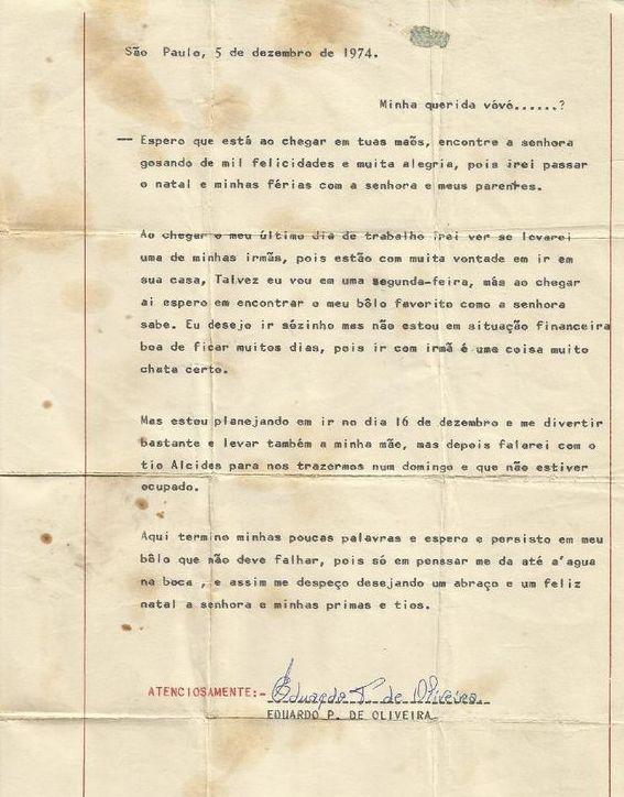 carta a avó Madalena